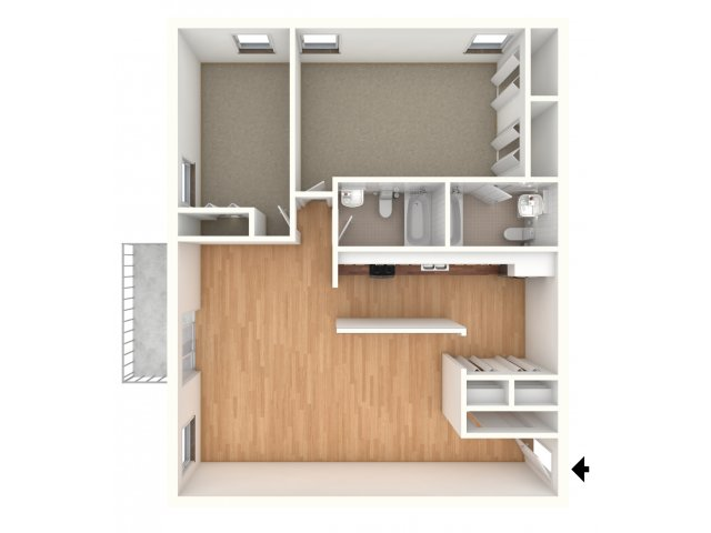 Two bedroom floor plan