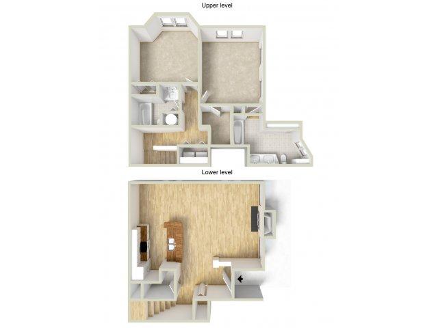 LeGrand - two bedroom townhouse floor plan