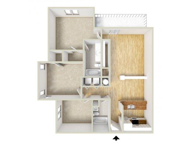 Mills - three bedroom floor plan