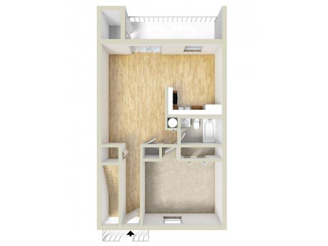 One bedroom downstairs floor plan