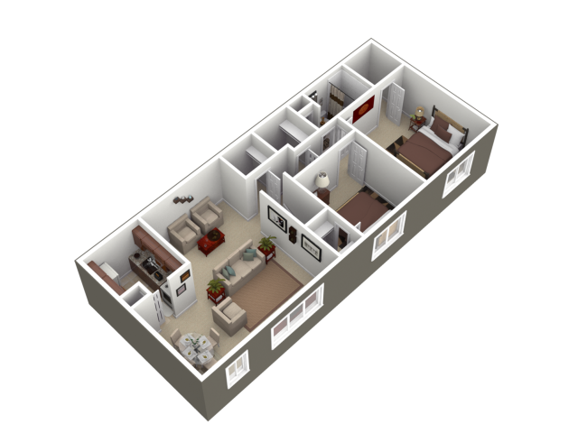 2 Bedroom Floor Plan   Apartments For Rent Wyomissing PA   Woodland Plaza