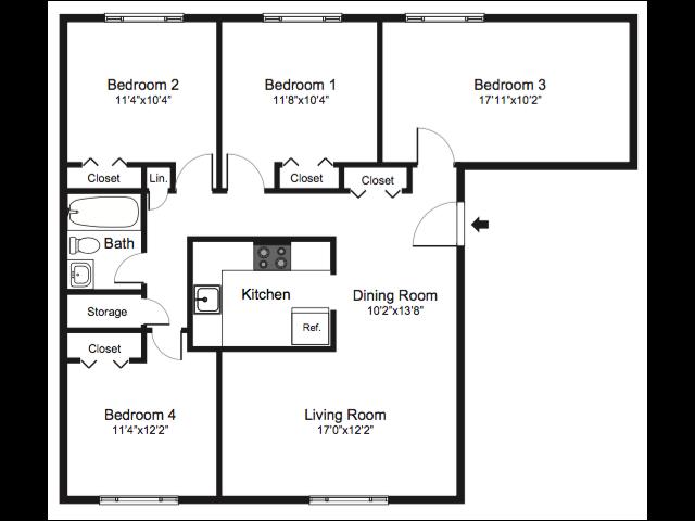 four bedroom floorplan