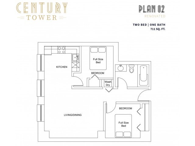 Plan 2 2 Bed Apartment Century Tower