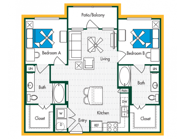 2 Bedroom, 2 Bath (B2) Floor Plan Layout