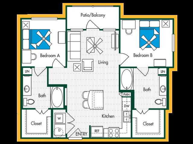 2 Bedroom, 2 Bath (B2A) Floor Plan Layout