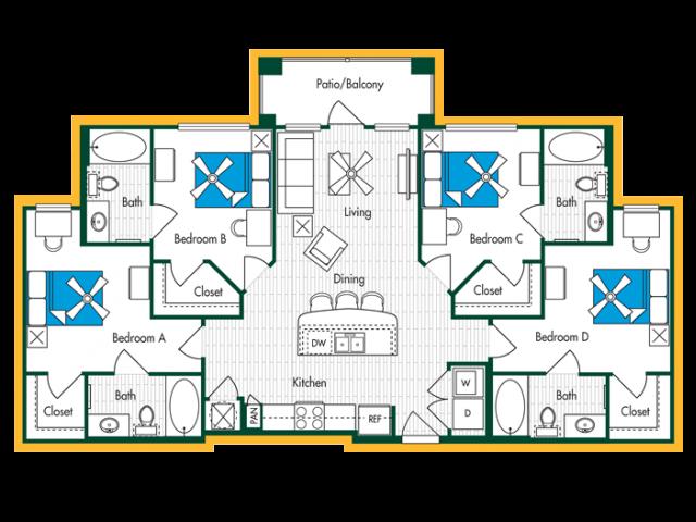 4 Bedroom, 4 Bath (D1) Floor Plan Layout