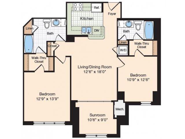 Floor Plan 14 | Old Town Alexandria Apartments | Meridian at Eisenhower Station