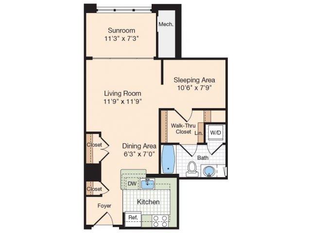Floor Plan 26 | Old Town Alexandria Apartments | Meridian at Eisenhower Station
