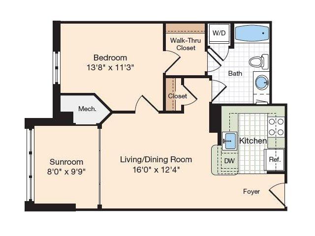 Floor Plan 27 | Old Town Alexandria Apartments | Meridian at Eisenhower Station