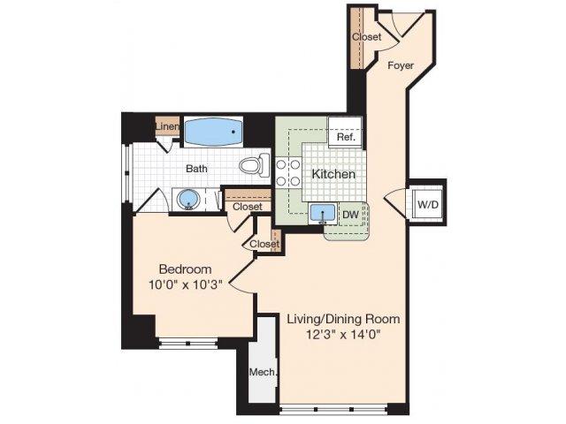 Floor Plan 1 | Apartments Near Alexandria VA | Meridian at Eisenhower Station