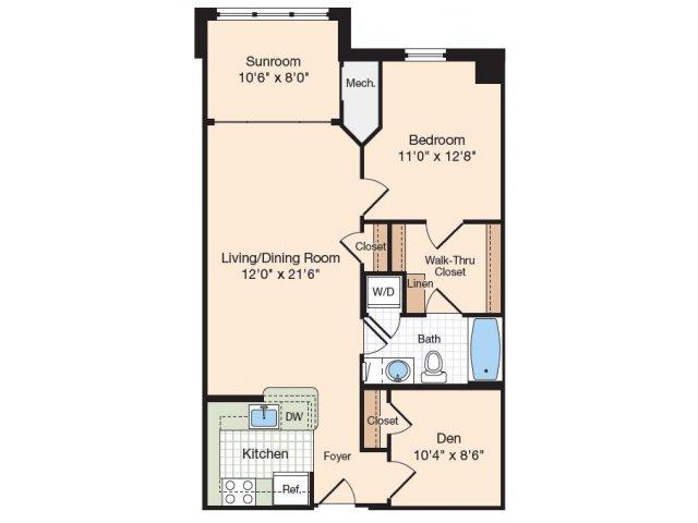 Floor Plan 5 | One Bedroom Apartments In Alexandria VA | Meridian at Eisenhower Station