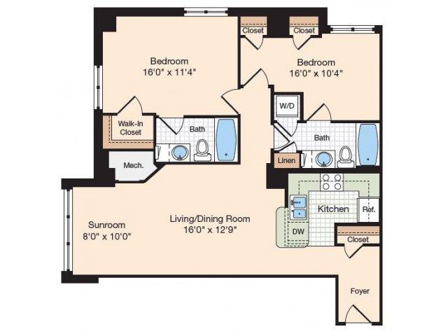 Floor Plan 8 | Apartments For Rent In Alexandria VA | Meridian at Eisenhower Station