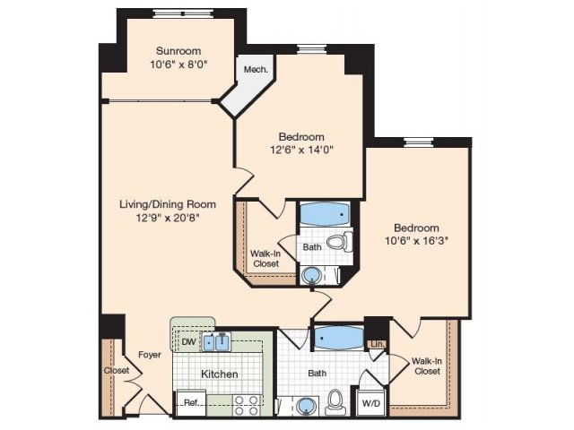 Floor Plan 17 | Old Town Alexandria Apartments | Meridian at Eisenhower Station