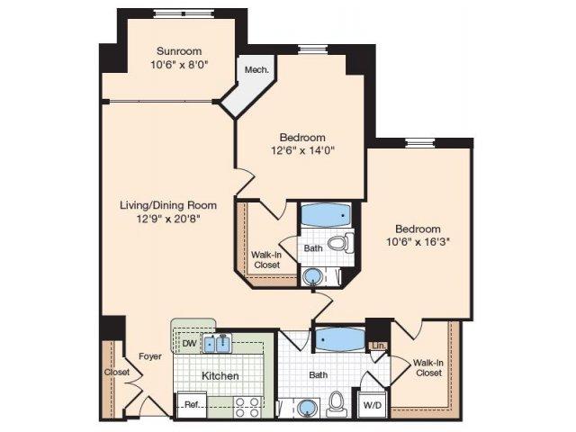 Floor Plan 17 | Old Town Alexandria Apartments | Meridian at Eisenhower Station