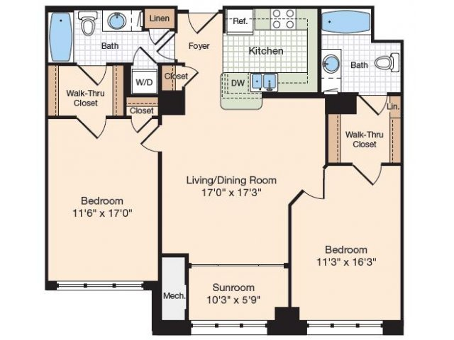 Floor Plan 12 | Old Town Alexandria Apartments | Meridian at Eisenhower Station