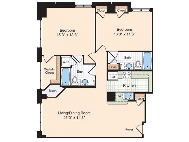 Floor Plan 18 | Old Town Alexandria Apartments | Meridian at Eisenhower Station
