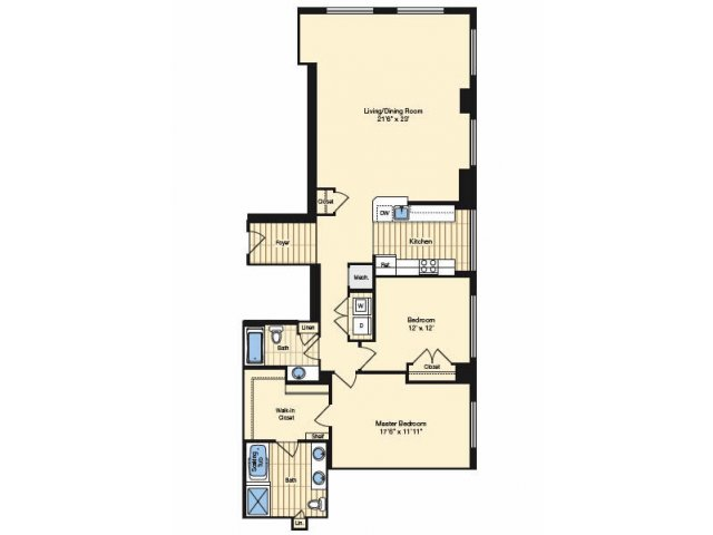 2 Bdrm Floor Plan | Apartments In Alexandria VA 3 | Carlyle Place