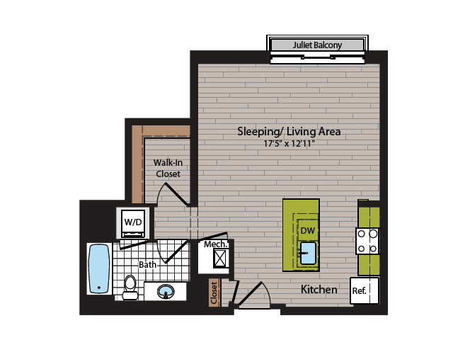 Studio Floor Plan | Washington DC Apartment For Rent | 360H Street 3