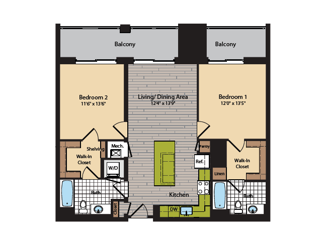 2 Bedroom Floor Plan | Apartments In Washington DC | 360H Street 9