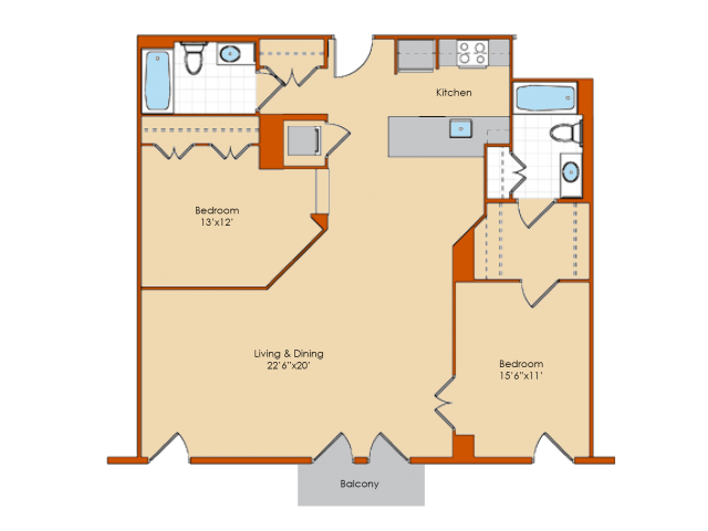 2 Bedroom Floor Plan 2 | Apartments In Washington DC | Park Triangle Apartments Lofts and Flats