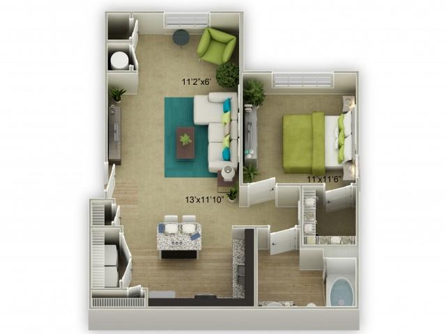 Legends at Azalea 1 Bedroom Azalea Floor Plan with Sunroom image