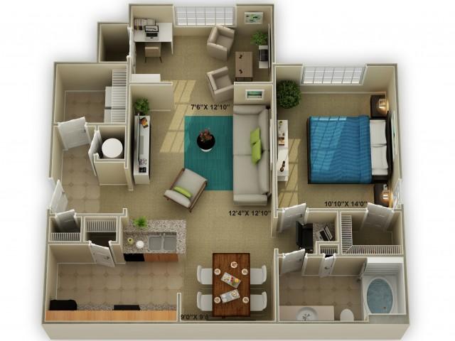 Photo of The Ridgecrest with Sunroom One Bedroom Floor Plan