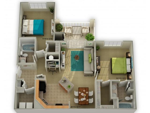 The Brookstone Two Bedroom Floor Plan