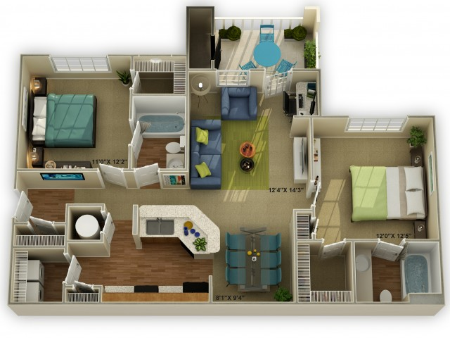 Photo of The Brookstone Two Bedroom Floor Plan