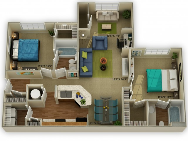 Photo of The Brookstone with Sunroom Two Bedroom Floor Plan