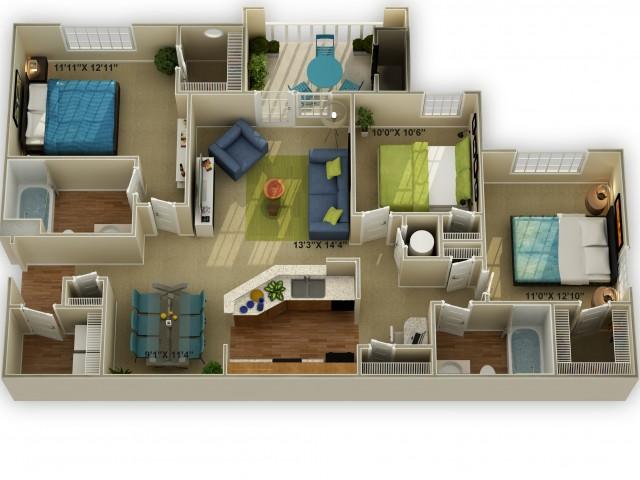 ThePhoto of The Walden Three Bedroom Floor Plan