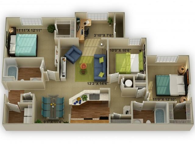 Photo of The Walden with Sunroom Three Bedroom Floor Plan