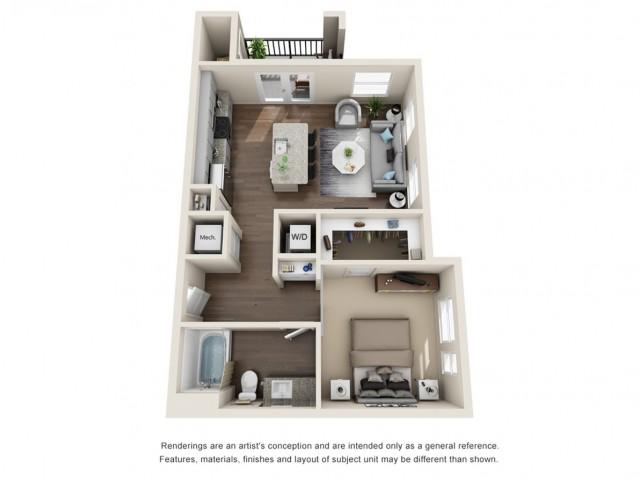One Bedroom | 666 sqft