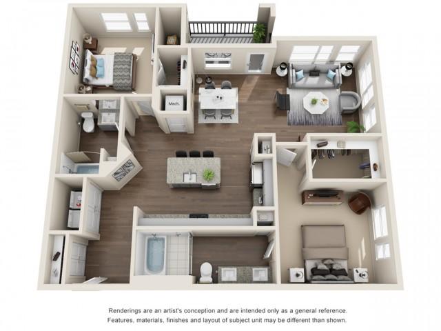 Two Bedroom | Two Bathroom | 1263 sqft