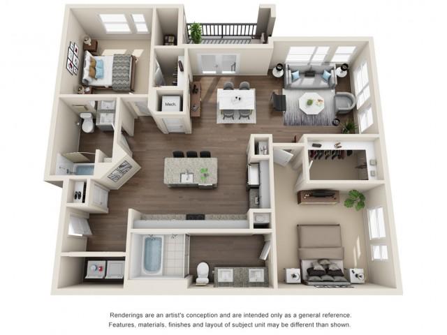 Two Bedroom | Two Bathroom | 1285 sqft