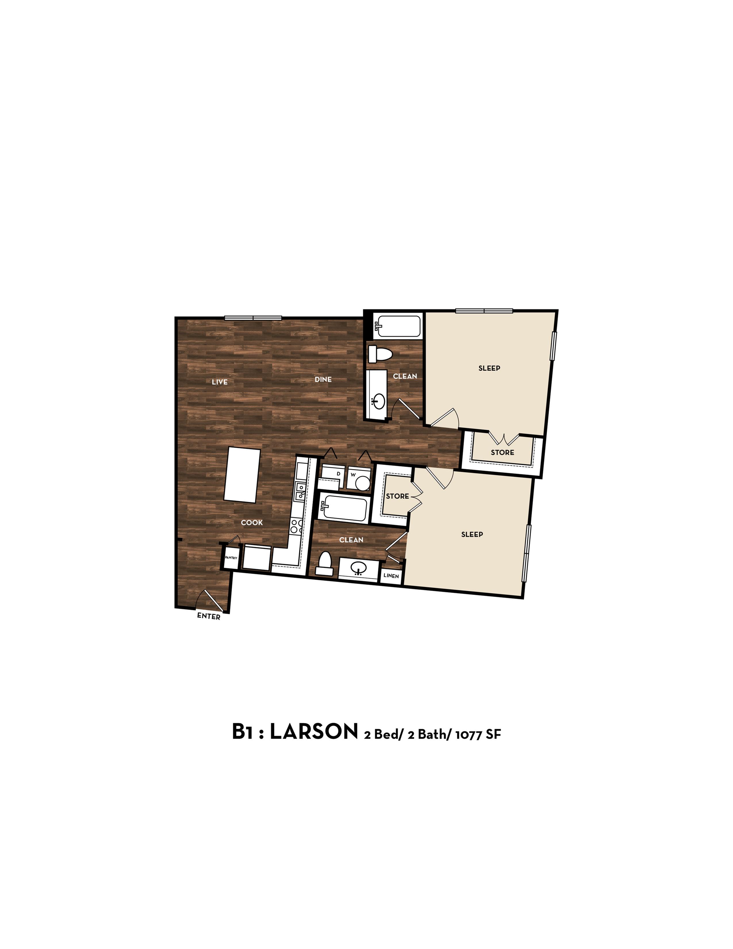 Floor Plan 7 | San Antonio 2 Bedroom Apartments | 1800 Broadway