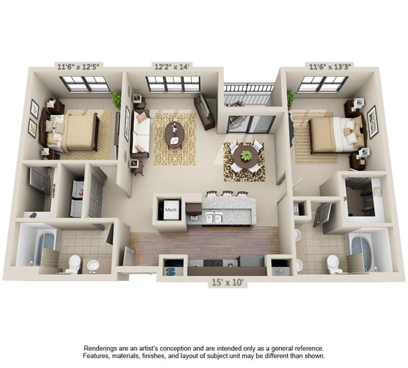 Sebastian   2 Bedroom   2 Bath   1041-1077 SF