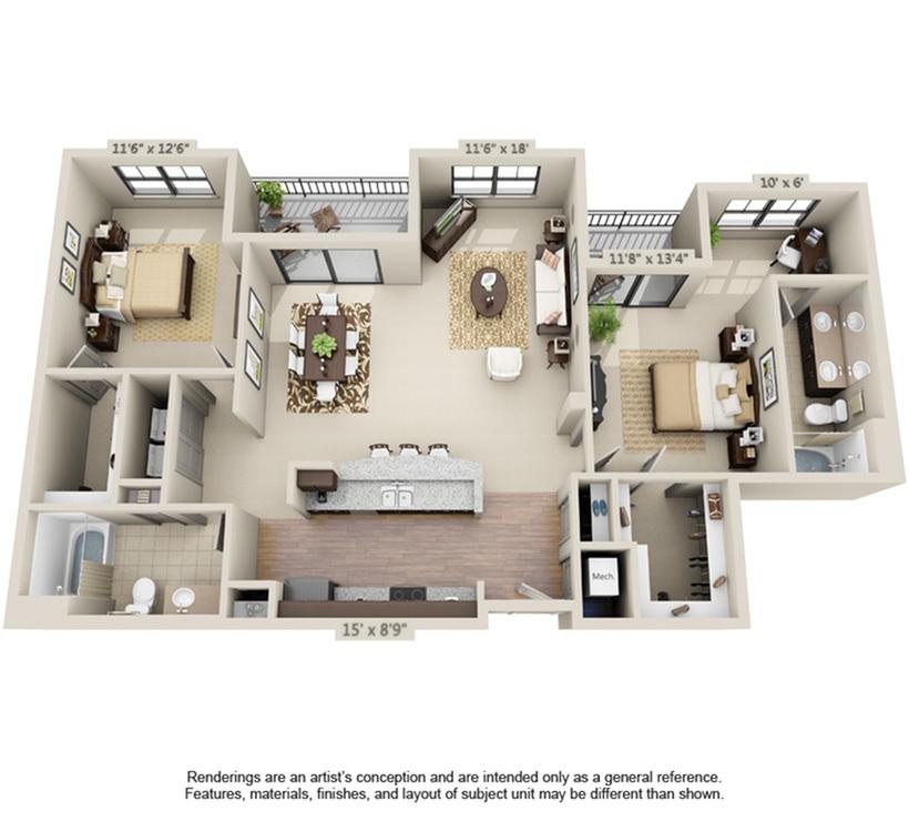 Naples   2 Bedroom   2 Bath   1243-1403 SF