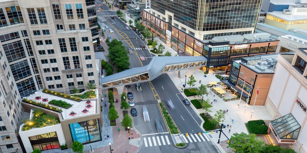 Ballston Quarter and Ballston Exchange from the Meridian at Ballston Commons Rooftop   Luxury Apartments in Arlington, VA