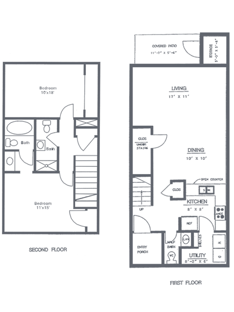 2 Bedroom 2.5 Bath Floorplan | Sycamore Point Apartment Homes