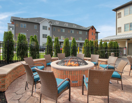 Student Housing Hot Tub Patio with Firepit  | Axis 360 | Buffalo Apartments