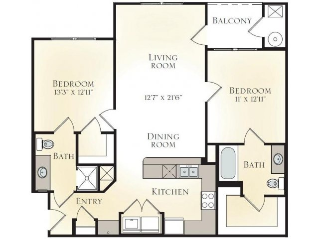 SYCAMORE B1 - TWO BEDROOM TWO BATH