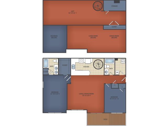 Two Bedroom Senior Loft B