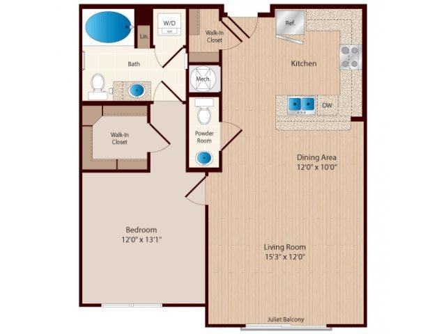 One Bedroom One and a Half Bathroom floor plan