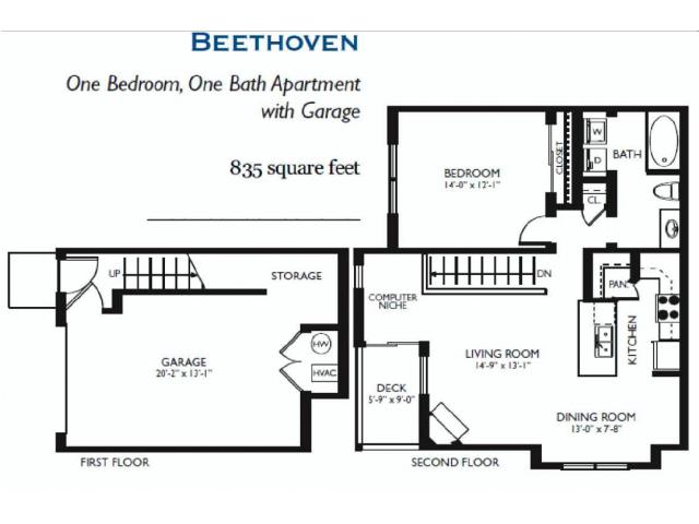 Beethoven One bed One Bath 835 sqft