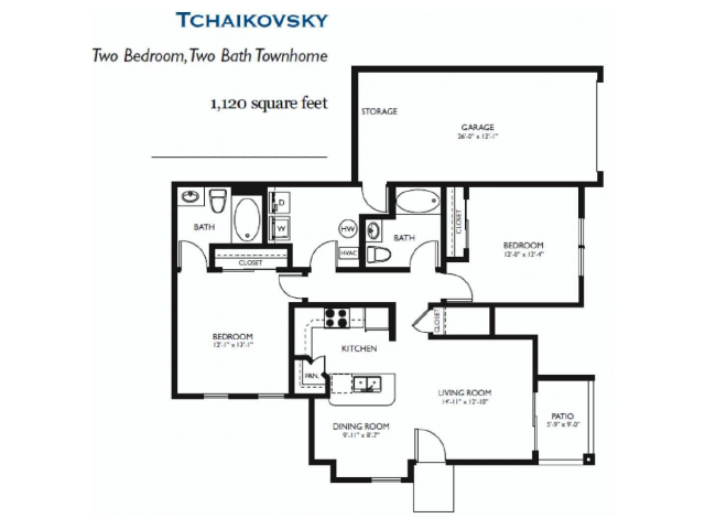 Tchaikovsky - Two bed Two bath - 1120 sq ft
