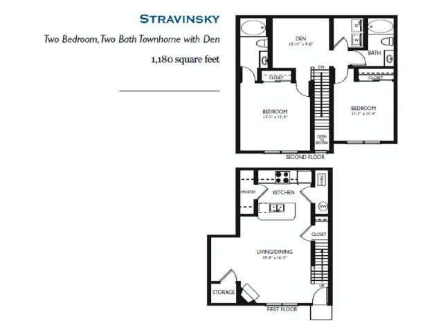Stravinsky- Two bed Two bath - 1180 sq ft