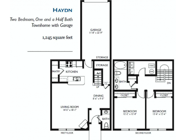 Haydn - Two bed One and One Half Bath - 1245 sq ft