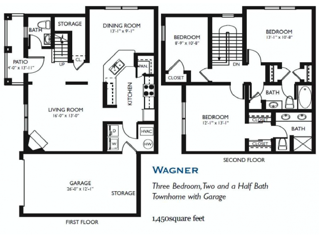 Wagner - Three bed Two and One Half Bath - 1450 sq ft
