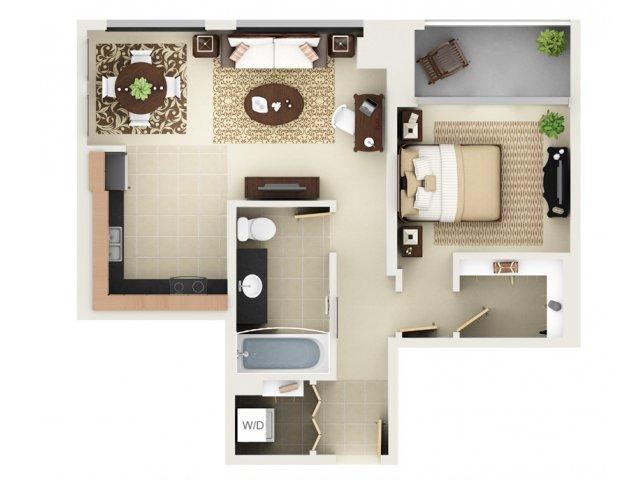 One Bedroom One Bathroom Floor Plan A3