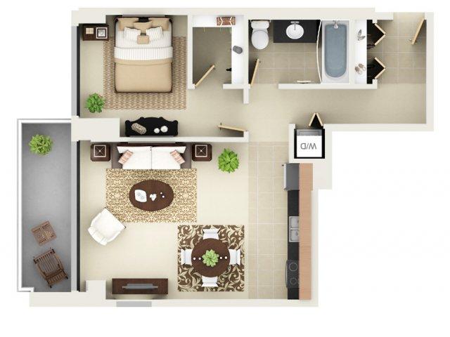 One Bedroom One Bathroom Floor Plan A5
